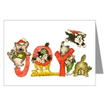 Greeting Christmas Card  of cute pictures of kittens cats Joy Cartoon