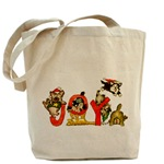 Canvas Tote Bag with Pictures of  Kittens Cats Joy